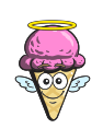 cartoon, emoji, ice, cone, cream icon