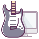 computer, audio, electronics, monitor, music, sound, guitar icon
