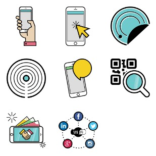 Mobile and Internet Business icon sets preview