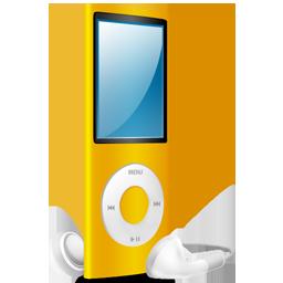 yellow, ipod, nano, yellow on icon