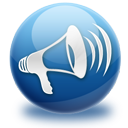 announcement, loudspeaker, blog icon
