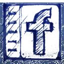 Drawn, Facebook, Hand icon