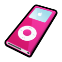 pink, mp3 player, nano, ipod icon