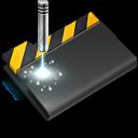 wip, black, laser icon