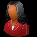 dark, customer, female icon