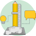 creative research, idea, chat, energy icon