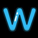 letter, w, blue, alphabet, letters icon