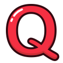 letter, red, letters, alphabet, q icon