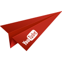 video, social media, paper plane, youtube, origami, red icon
