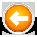 arrow, back, orange, left, grey icon