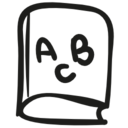 ABC educational book hand drawn toy icon