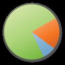 green, pie, chart, analytics icon