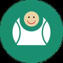 fat, contact, laugh, big, fun, green icon
