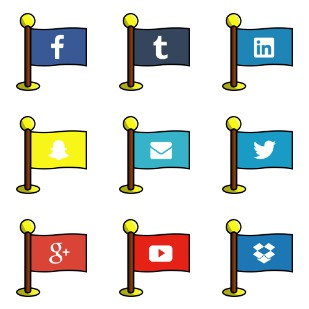 Social Media Flags icon sets preview