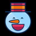 emoji, happy, smile, emot, snowman, man, snow icon