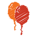party, orange, scribble, baloon, balloon, red, birthday icon