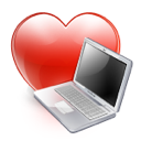 computer, heart, favorite, love icon