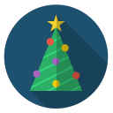 xmas, tree, star, decoration, chain, christmas, green icon