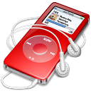 ipod, red, nano icon