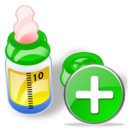add, feeding, plus, bottle icon