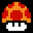 mushroom, cartoon, mario, game, super, retro icon