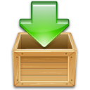 box, green, wooden, download, load, arrow, box arrow, download to box icon