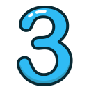 three, number, blue, study, numbers icon