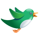 twitter bird flying green icon
