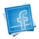 facebook, social, blueprint icon