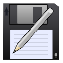disk, write, save as, save, pen icon