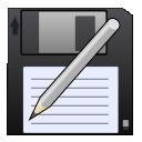 disk, write, save as, save, pen icon