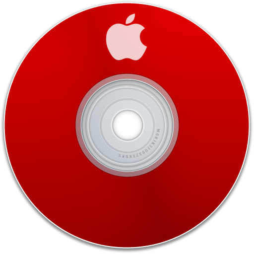 red, cd, disc, apple, dvd, save, disk icon