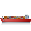 Container Ship Left Red icon