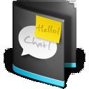 Black, Chat, Folder icon