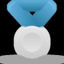 blue, silver, metal icon