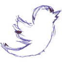 handwritten, twitter, birdie, tweet, pen written icon