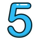 study, blue, number, numbers, five icon