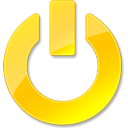 Down, Power, Shut, Yellow icon
