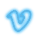 set, media, vimeo, social, neon icon