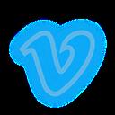set, media, vimeo, social, neon icon