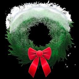 snowy, wreath, holiday icon