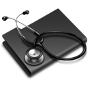 Black, Folder, Stethoscope icon