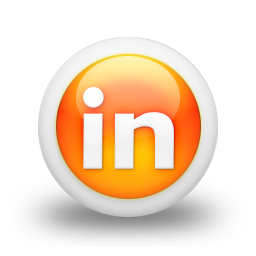 Linkedin Logo Icon Glossy Orange Orb Social Media Icon Sets Icon Ninja