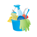 cleaning, bucket, janitor, rubber gloves icon