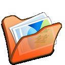 mypictures, orange, circle icon