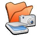 cameras, scanners, folder, &, orange icon