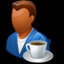 coffee, male, person icon