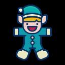 happy, helper, elf, toy, santa, person icon