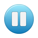 button, blue, pause icon