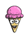 cartoon, ice, cone, emoji, cream icon